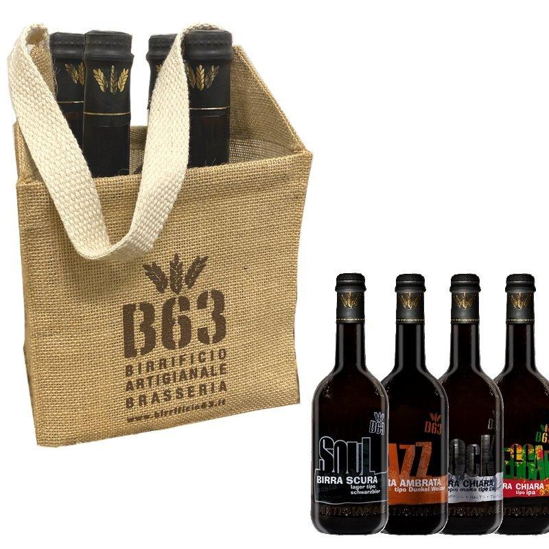 Borsina PASSION portabottiglie in tessuto di juta contenente 4 bottiglie da 0,5L  delle Birre: Reggae, Rock, Soul, Jazz