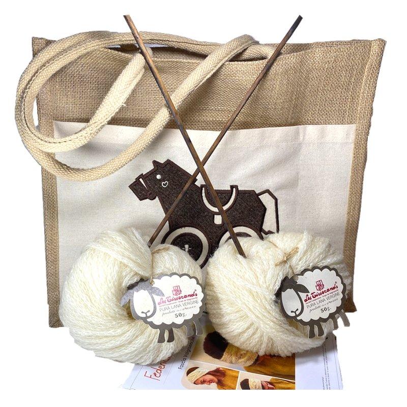 Kit lana con shopper per knitting